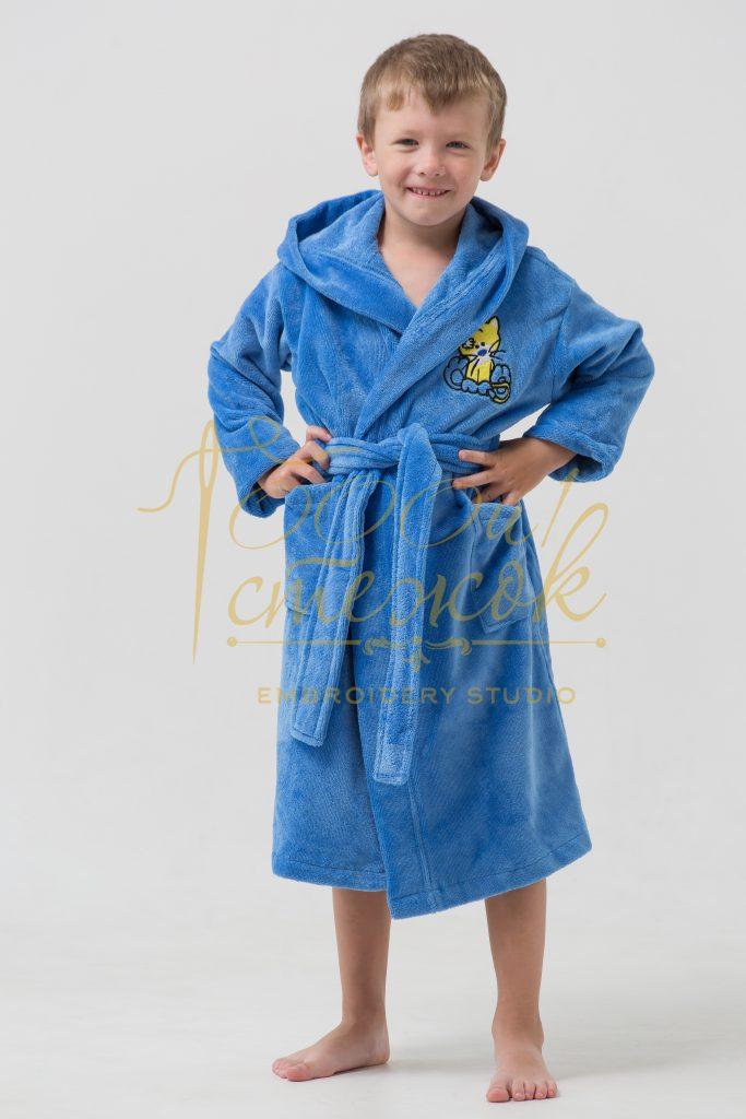 Детский халат с капюшоном «Малыш» категории «Премиум Турция» с именной вышивкой (Голубой)