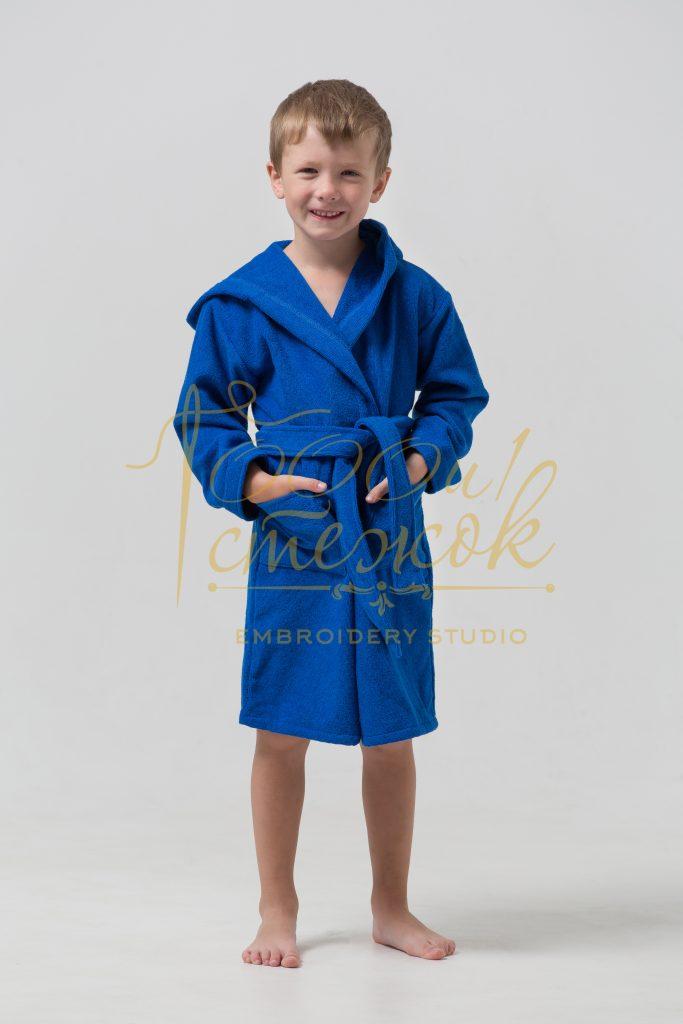 Детский халат с капюшоном категории «Премиум Россия» с именной вышивкой (Синий)