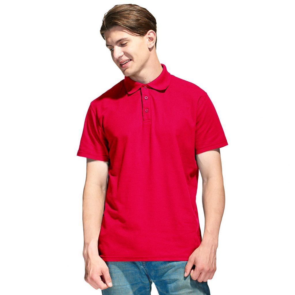 Мужская рубашка поло с именной вышивкой (Красный)