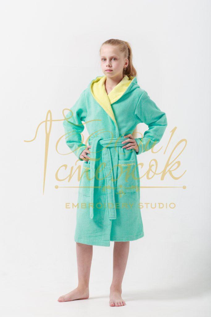 Подростковый халат с капюшоном Mimi категории «Премиум Турция» с именной вышивкой (Бирюза)